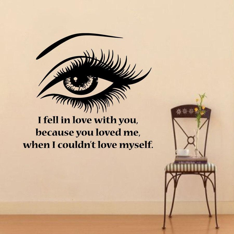 I fell in love with you beautiful eye wall sticker pvc removable see larger image amipublicfo Images