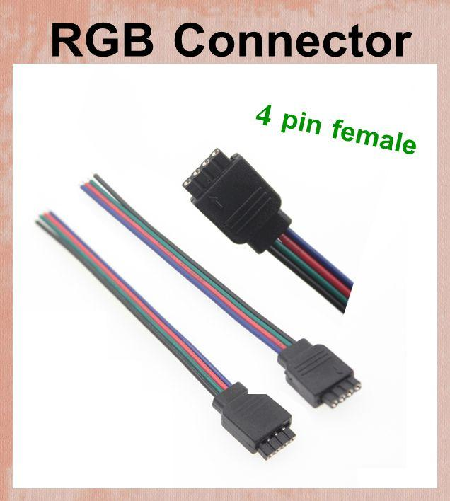 2018 4 Pin Power Line Connector For 3528 5050 Rgb Led Strip Light ...