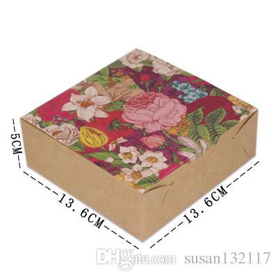 Comercio al por mayor 30 unids / lote Flor Vintage Cajas de Papel Kraft Boda Cajas de Embalaje de Dulces Galleta Galleta de Chocolate Macaron cajas de regalo