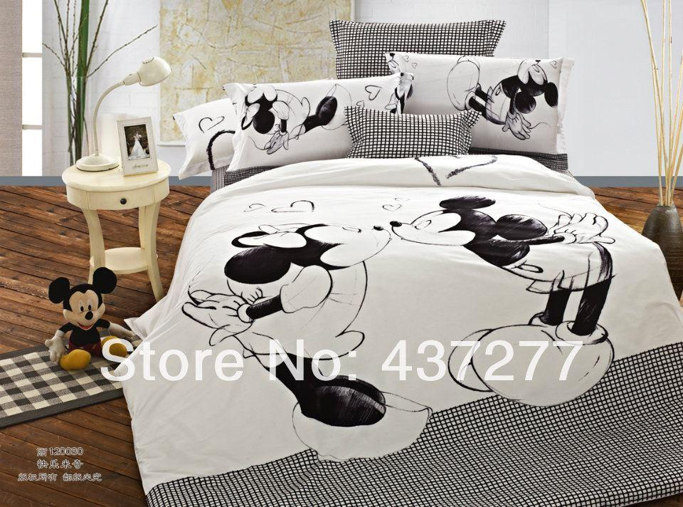 brand new mickey minnie mouse black and white bedding sets for