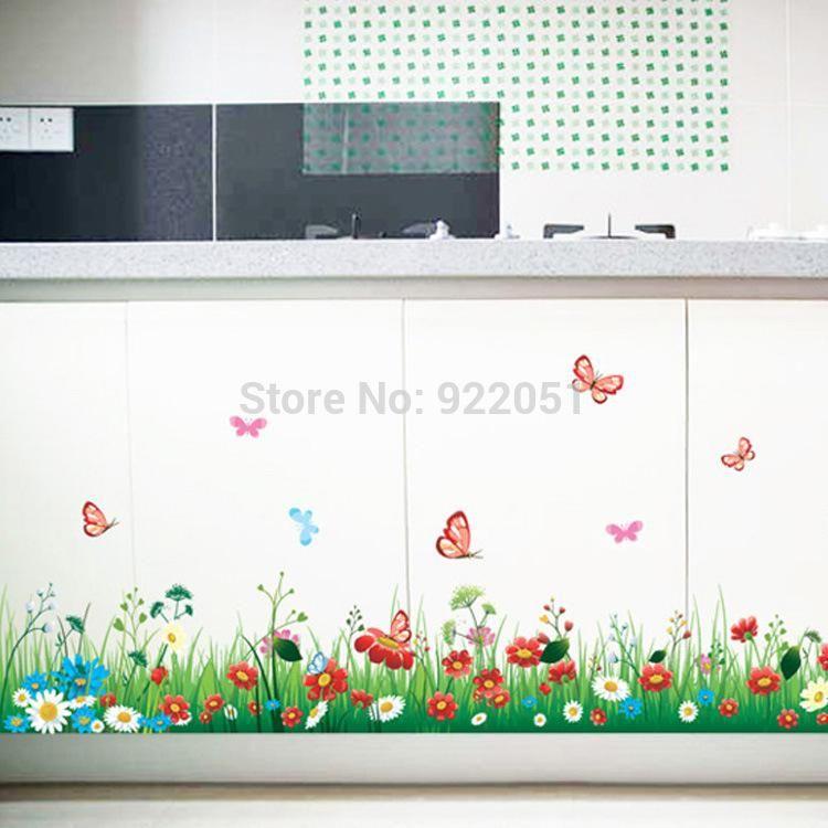 ay7186 pvc wall sticker new arrival grass flowers butterfly cut