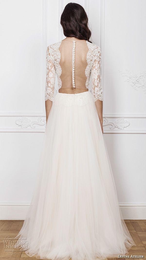 Bateau Neck 3/4 Long Sleeve Boho Wedding Dresses Two Pieces Lace Crop Top Sheer Beach Bridal Gowns Ruffled Tulle Vestidos De Noiva