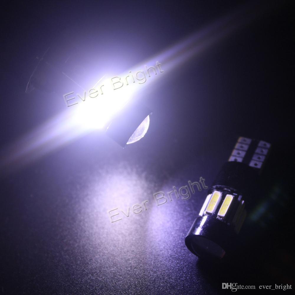 2x Bianco T10 W5W 194/921 7014-10SMD CANbus Nessuna luce LED di errore la mappa dell'automobile Indicatori di direzione laterali Indicatori di direzione Lampadina Cruscotto DC-12V