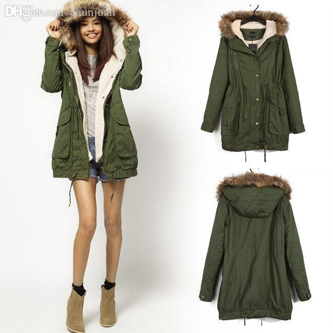 2018 Wholesale Hot Sale Winter Women Warm Hooded Military Green ...
