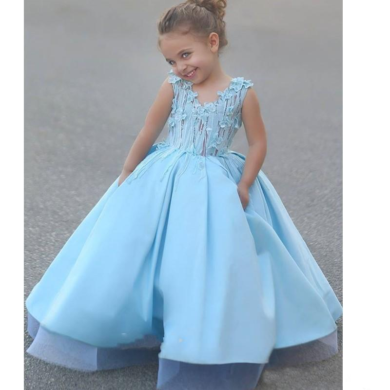 Custom 2016 New Lovely Princess Light Blue Flower Girls Dresses V Neck 3D-Floral Appliqued Ball Gown Girls Pageant Dresses