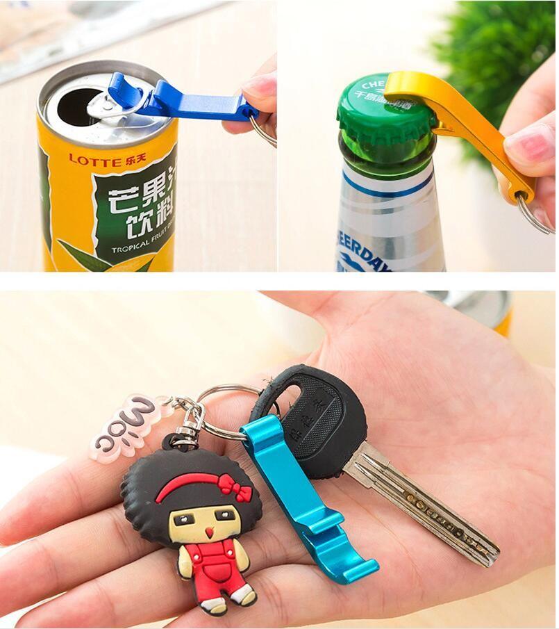 6*1cm Mini Aluminum Alloy Portable Can Opener Good Beer Bottle Opener Wine Opener Keychain Random Color Kitchen Gadgets