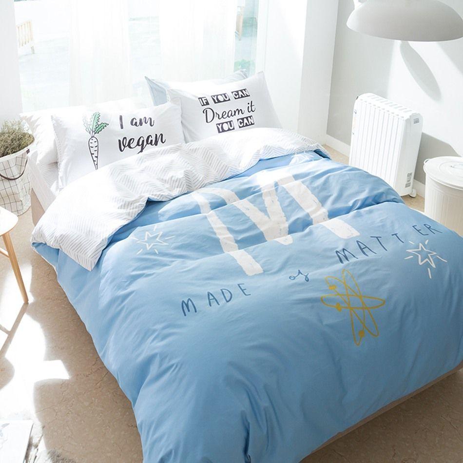 Light Blue Bedding Set Letter M Duvet Cover Letter Pillowcase 100% Cotton  Simple Style Bedsheet Bedding Sets Queen Size Complete Bedding Sets Duvet  Sets ...