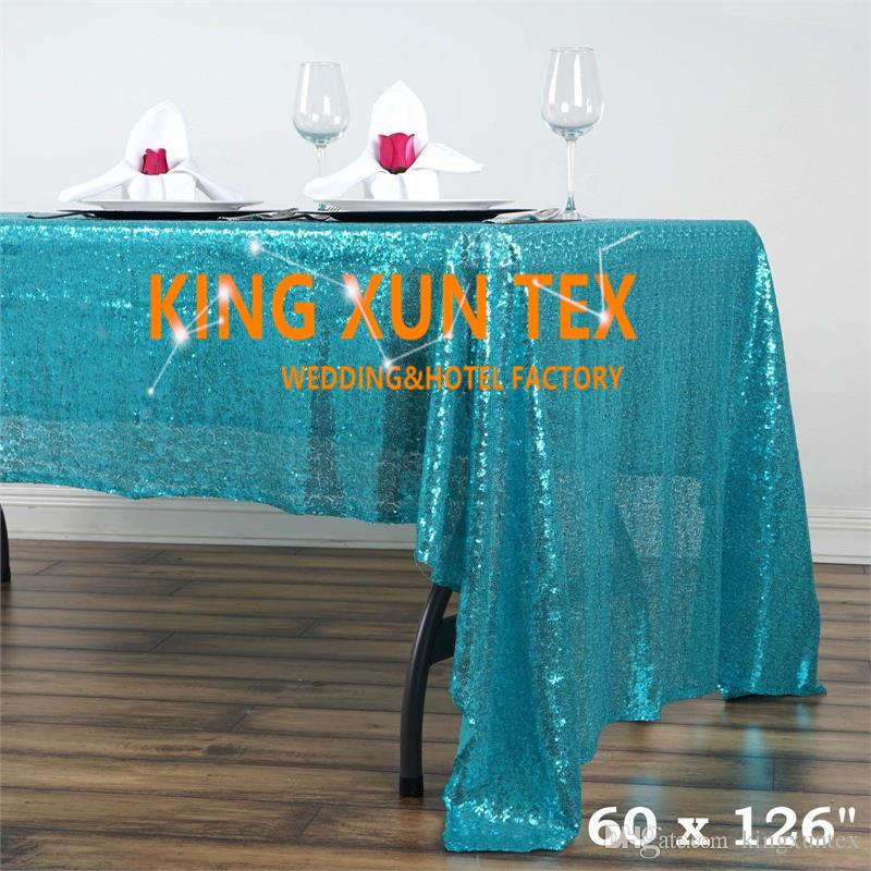 "Cheap Price 60"" by 126"" Rectangular Sequin Table Cloth For Party And Event Decoration \ Cheap Wedding Tablecloth"