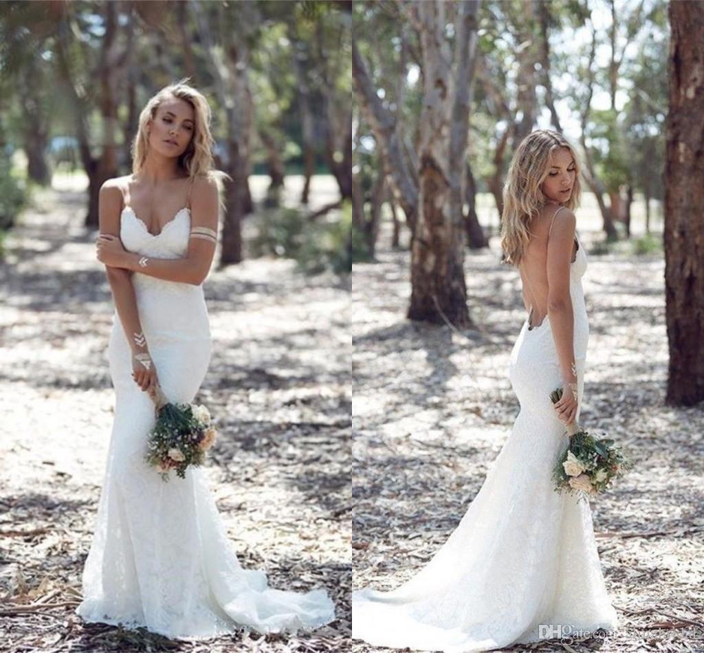 섹시한 뒷문 인어 전체 레이스 웨딩 드레스 스파게티 Strapless 스윕 기차 비치 웨딩 드레스 맞춤 제작 Vestidos de Novia 2016