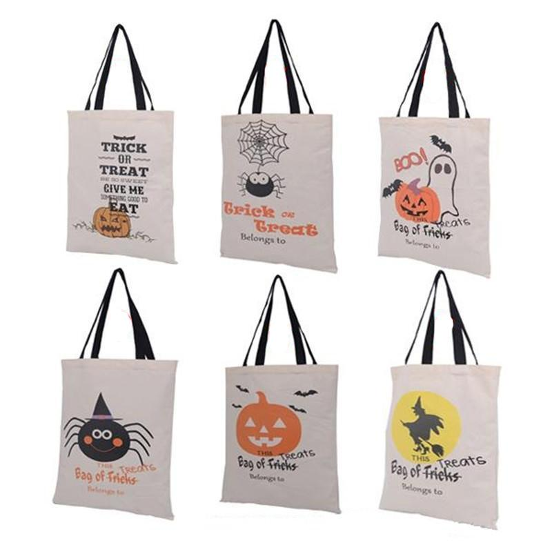 2018 New Fashion Halloween Gift Bags Large Cotton Canvas Hand Bags Pumpkin Devil Spider Printed Candy Gift Bags Christmas Decor On Sale Online Christmas ...  sc 1 st  DHgate & 2018 New Fashion Halloween Gift Bags Large Cotton Canvas Hand Bags ...