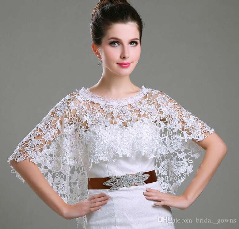 Best 2015 New Bridal Bolero Jacket Lace Cloak Capes White Lace ...