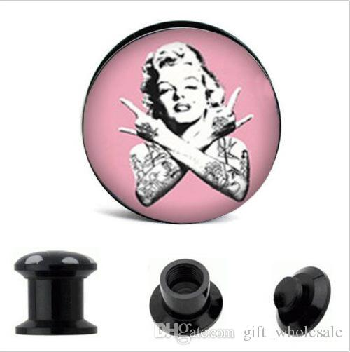 2015 New Factory Direct Wholesale Marilyn Monroe Acrylic Screw Ear Plug Flesh Tunnel 8 Sizes Body Jewelry