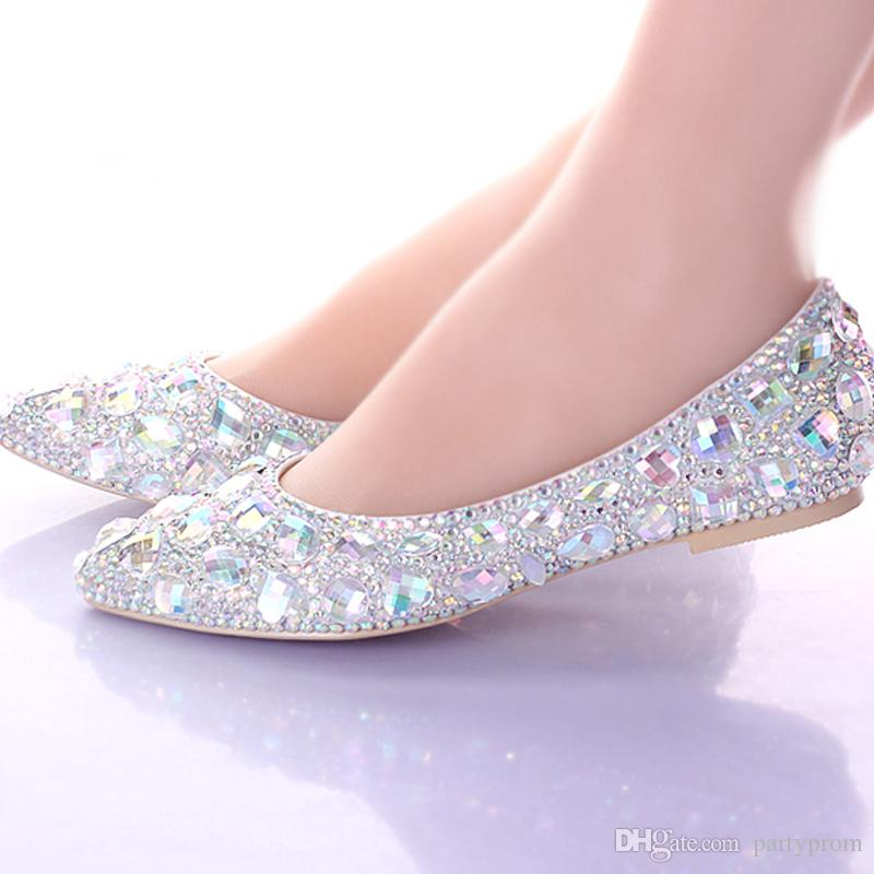 Flat Heels Pointed Toe AB Crystal Wedding Shoes Silver