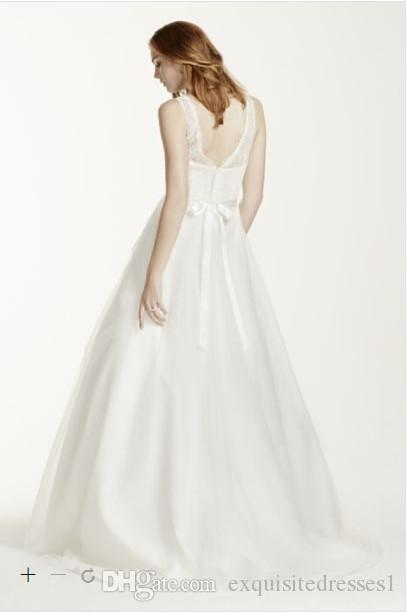 ae3b75f1d ... Cheap Wedding Dresses Illusion Lace Tank A-Line Gown with Tulle Skirt  2015 New Custom ...