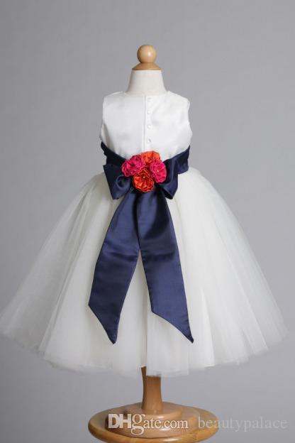 Самые свежие бальное платье драгоценный камень длинный белый Слоновой Кости тюль цветок девушки платье с цветами ручной работы новое прибытие дешевые свадьба рождественские платья