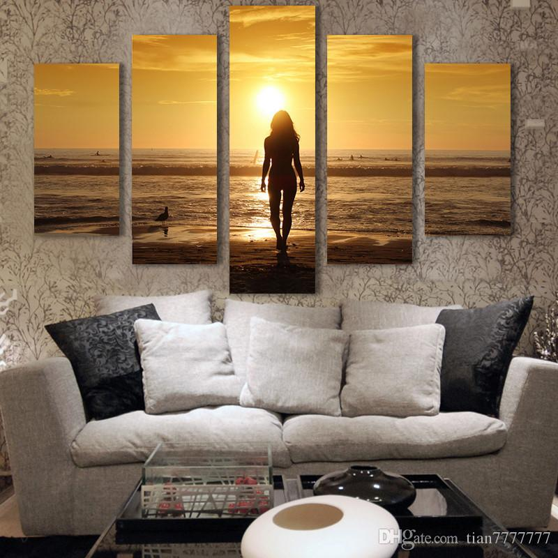 Unframed Sunset Seascape Painting Top-rated Canvas Print Painting for Living Room Wall Art Picture Gift Decoration Home Hot Sale