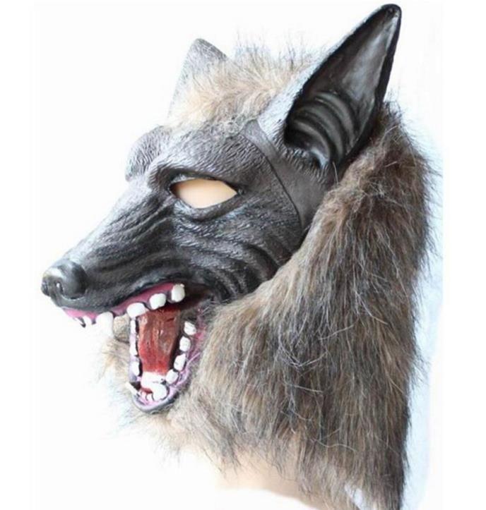 مخيف الفراء اللاتكس الكامل رئيس العلوية الذئب قناع مخيف أقنعة هالوين تأثيري تنكرية تنكرية مسرح الكبار زي الدعائم الرمادي