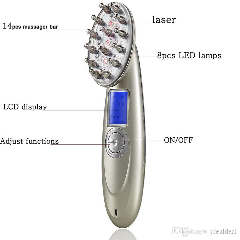 NUEVO 4 en 1 LCD Recargable Láser eléctrico Crecimiento del cabello Peine Crecimiento Cepillo de pelo Cuero cabelludo Masajeador Anti Pérdida del cabello Máquina de cuidado de la salud