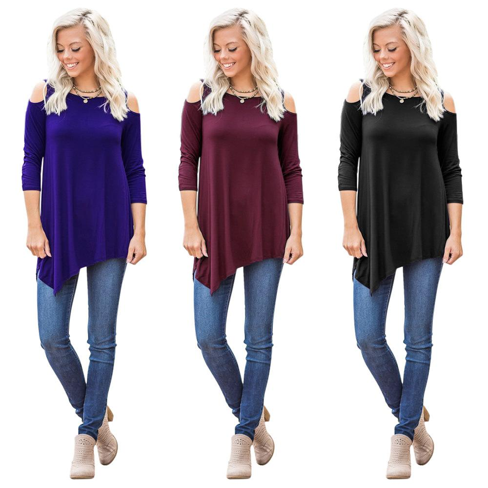 070a1d962aac3 2017 Women Fashion Casual O Neck Cold Shoulder Long Sleeve Asymmetric Hem T  Shirt Dress Loose Tops UK 2019 From Hengytrade