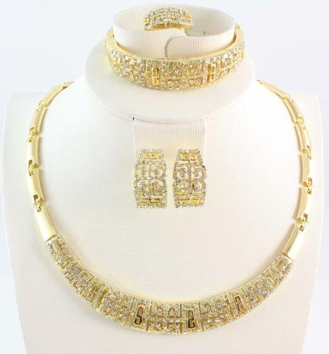 Jewelry Sets New Design Fashion Women 18K Gold/Silver Plated Necklace Bangle Earring Ring Gift Full Rhinestone Set 6pcs/lot