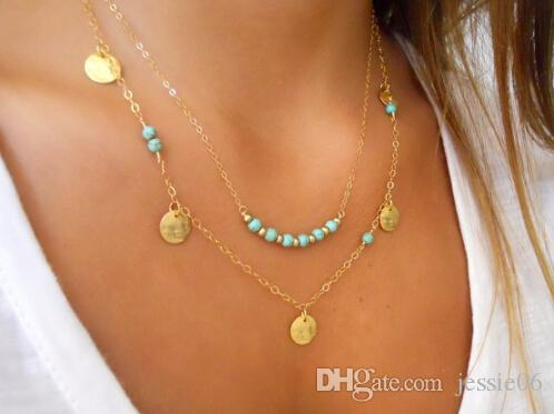 Gold silver 2 layer chain bar necklace fashion women beaded turquoise coin pendant necklace chain clavicle charm jewelry party festive gift