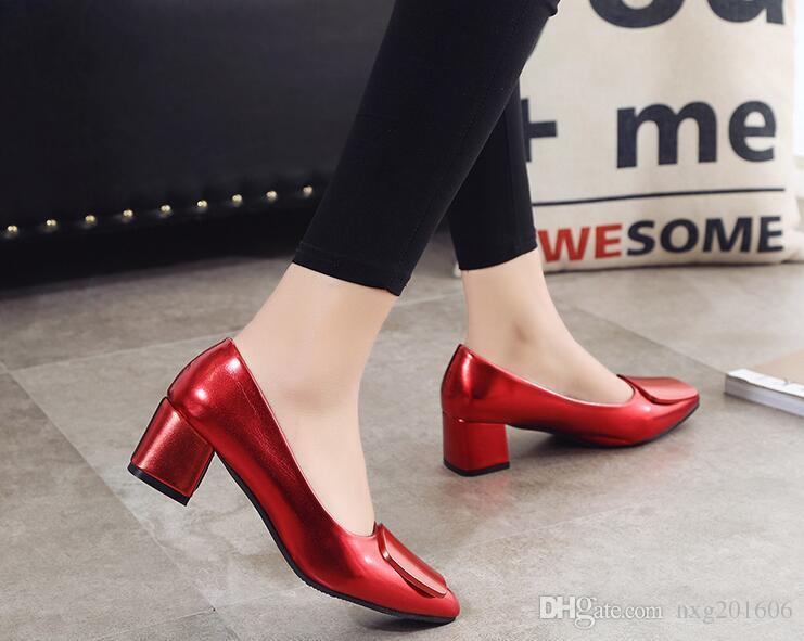 2019 Frühling und Herbst Saison, neue spitze Fuß Damenschuhe klassischen Wein, rote Brautjungfer Schuhe Ferse Kleid Schuhe Größe 34 ~ 40