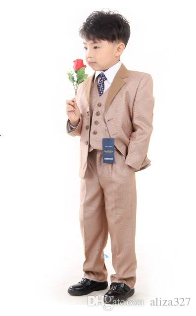 High quality male children's suits wear the flower boys dress children suit formal three-piece suit jacket+pants+vest custom made