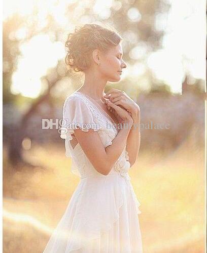 Böhmische Brautkleider Perlen Tiefem V-Ausschnitt Backless Brautkleider Blumen Perlen Sheer Ärmel Falten Chiffon Brautkleider