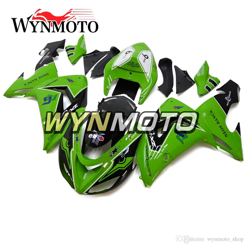 Bodywork for Kawasaki ZX-10R ZX10R 2006 2007 06 07 Injection Plastics  Motorcycle Fairing Kit ABS Covers Body Frames Green White