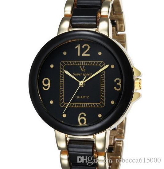 NEUE V6 Casual Quarz Männer / frauen rose gold UHRBAND Uhren Sport Armbanduhr Dropship Melamin Uhr Mode Stunden Kleid Uhr WEIHNACHTEN GESCHENK