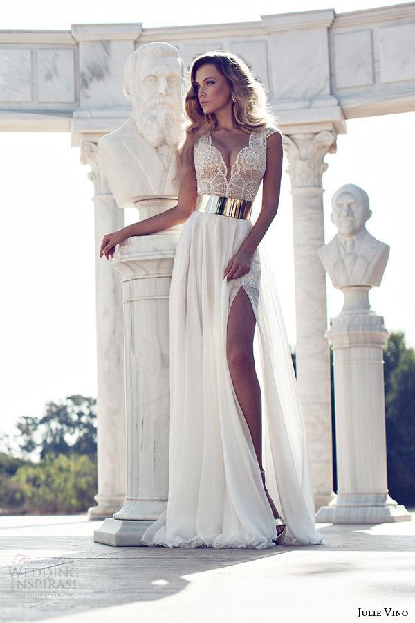 Exquise Perles Julie Vino En Stock Robes De Mariée Ivoire V-Cou Or Ceinture A-Ligne Côté Fente Sol-Longueur Mousseline De Soie Robes De Mariée