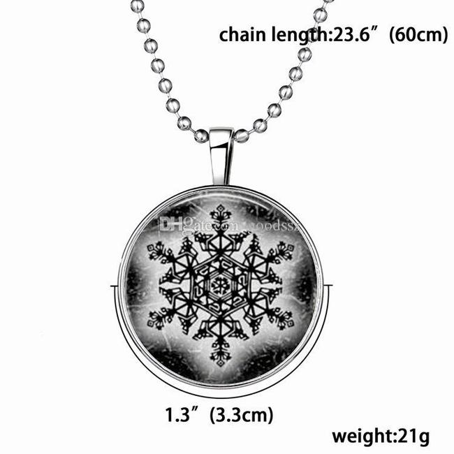 Christmas Gift Slide Pendant Necklace Snowflake Punk Style Luminous Long Alloy Resin Gemstone Necklace 21g 60cm Clothing Accessories
