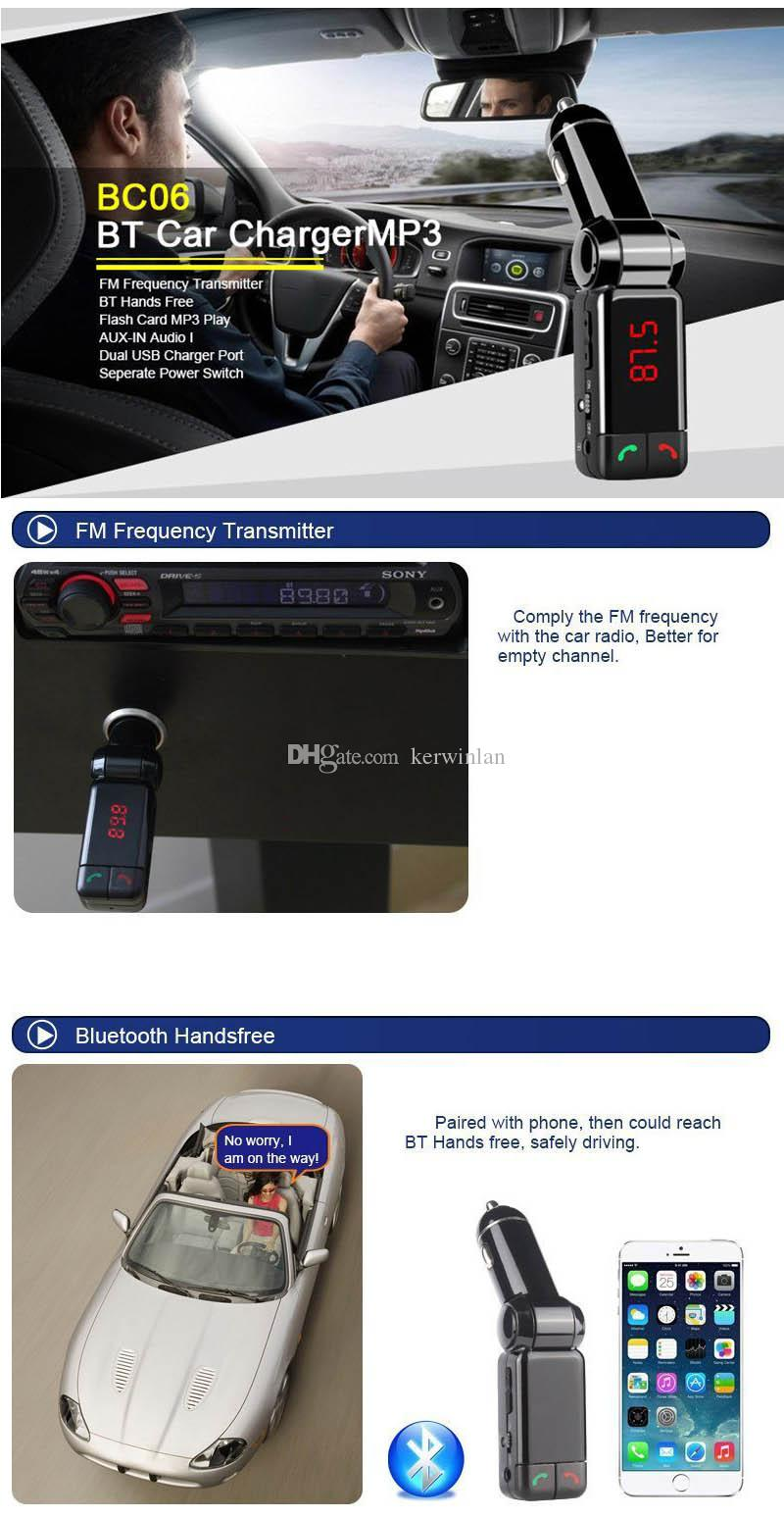 Bluetooth Car Kit BC06 Wireless Car Speakerphone BT Hands Free Dual USB Car Charger 3.5mm AUX-IN FM Transmitter For Samsung iPhone Mobile