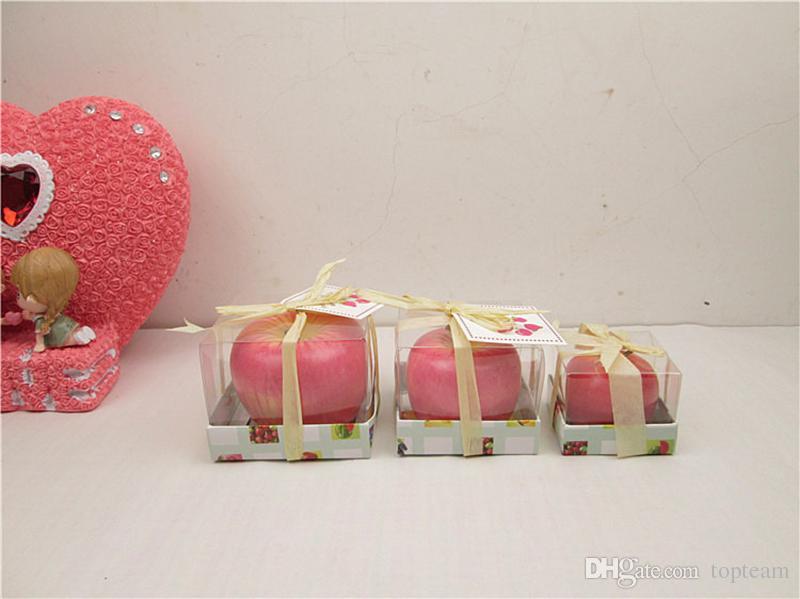 Pomme Bougie Cire De Paraffine Maison Romantique Décorations De Fête Bougies Parfumées D'anniversaire De Noël Faveurs De Mariage Cadeaux Ornement Avec Boîte