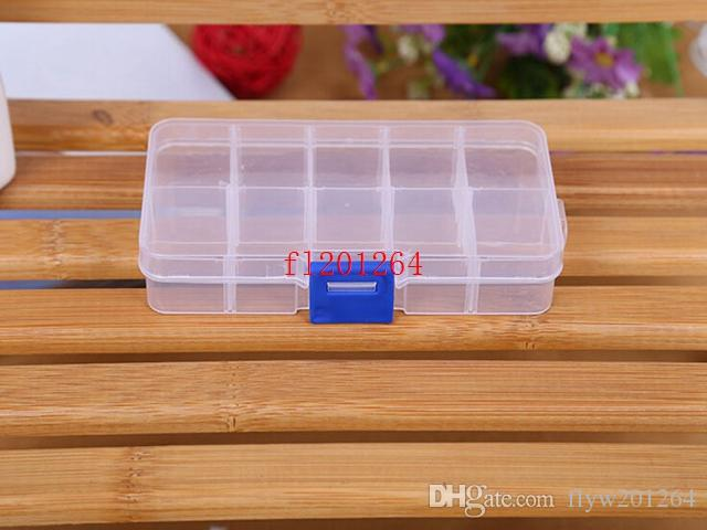 Fedex DHL Adjustable 10 Compartment Plastic Clear Storage Box for Jewelry Earring Tool Container,