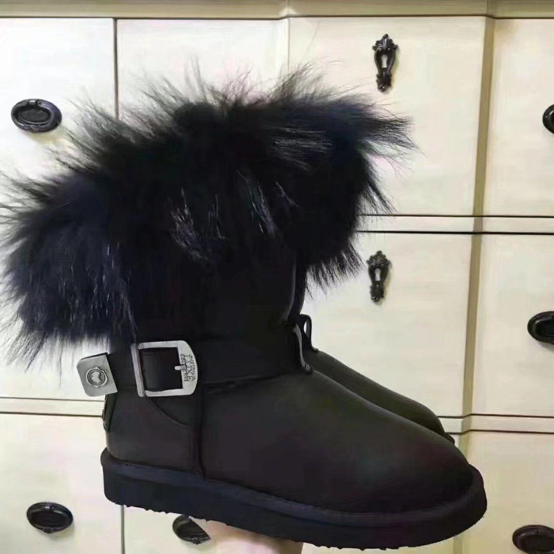 Pelliccia di volpe Stivali da neve Scarpe invernali Pelle di mucca Moda Calda tacco piatto caldo da donna