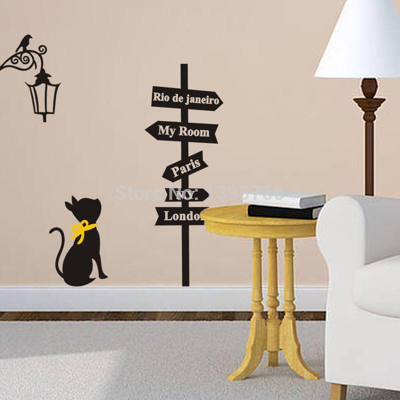 Popular Ancient Lamp Cats Signpost Wall Sticker Wall Mural Home Decor Room  Kids Room Decals Wallpaper Quote Wall Stickers Quotes Stickers For Walls  From ...