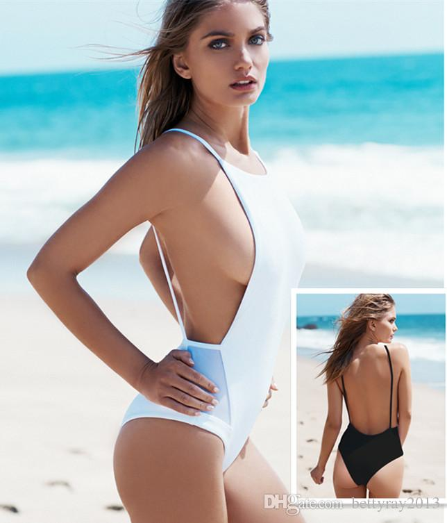 8ff2bd5ad1a61 2019 New Summer Side Mesh High Waist Swimsuit For Women Bathing Suit 2016  Black White One Piece Swimwear Backless Bodysuit Swimming Suit From  Bettyray2013