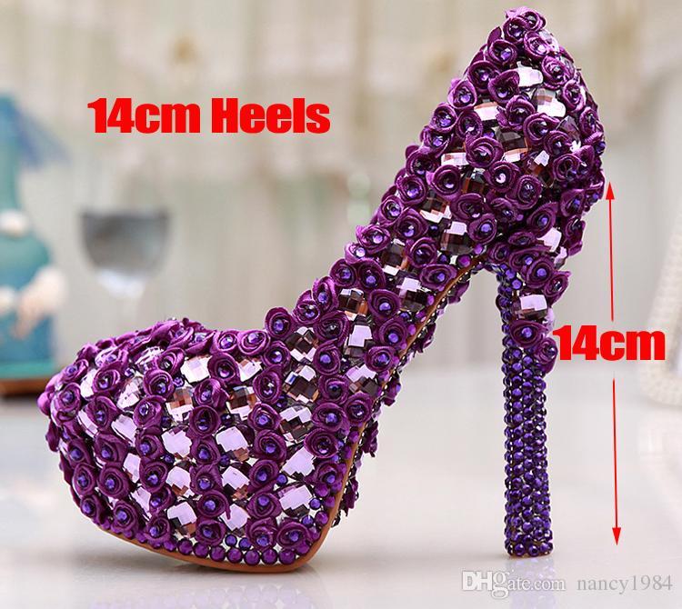 Tamaño grande 11 Gorgeous Purple Crystal Plataforma Tacones Bombas Mujeres Wedding Party Dress Shoes 5 pulgadas Wedding Bouquet Zapatos de baile