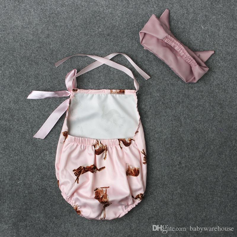 لطيف الوليد طفل طفلة الملابس الوردي أرنب رومبير بذلة تتسابق + العصابة 2 قطع الطفل الفتيات ملابس الصيف ملابس الاطفال ملابس