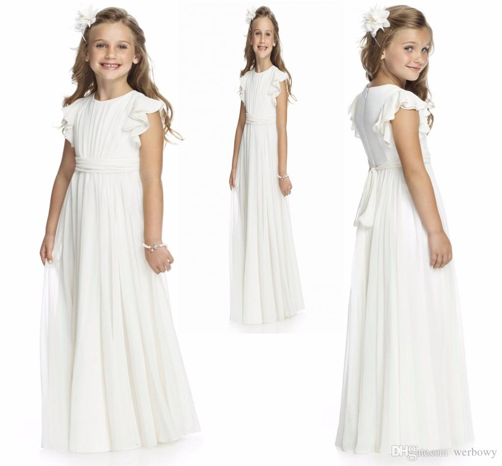 a2b93830e4 2019 Simple Ruffles Flutter Ruched Chiffon Beauty Pageant Flower Girl Dress   Toddler Junior Girl Dress With Sash And Bow HY1201 Tween Pageant Dresses ...