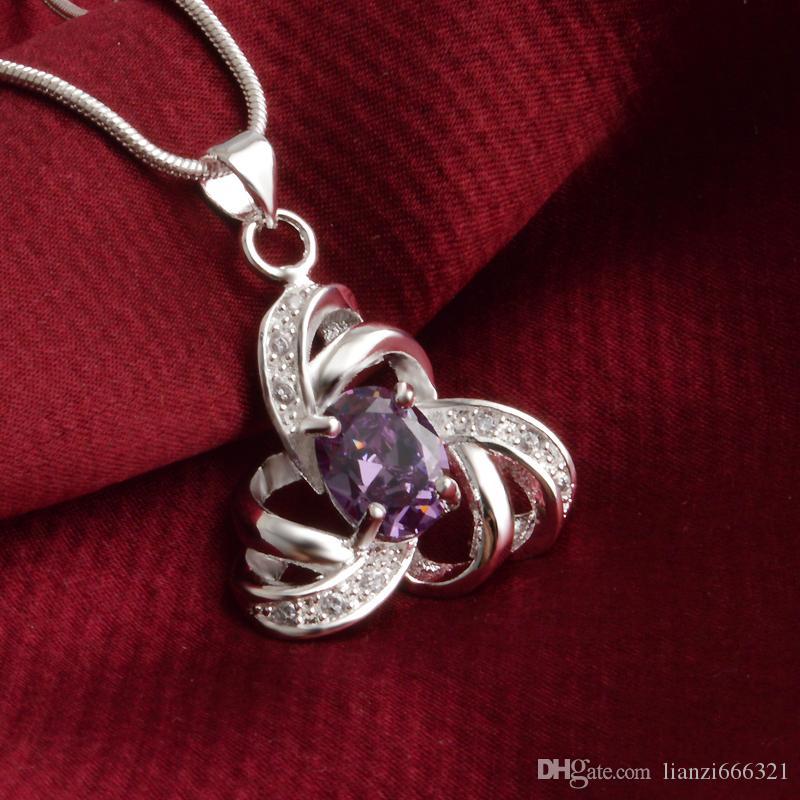 Livraison gratuite mode de haute qualité en argent 925 percé hexagramme bijoux en diamant violet collier en argent 925 cadeaux de vacances de Saint Valentin 1672