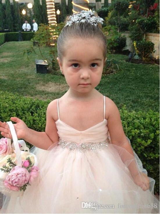 Pageant Dresses For Girls Spaghetti Sleeveless Flower Girl Dresses White Ivory Champagne Kids Ball Gowns Wedding Dress Sash Beading Belt