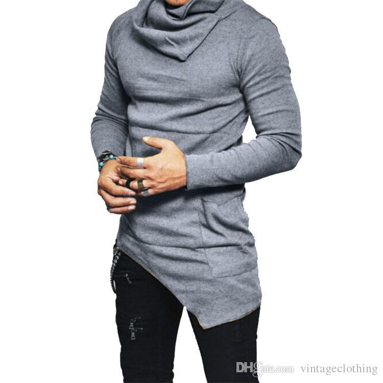 cee8f14e530 Men Longline T Shirt Designer Heaps Collar Long Sleeve Hip Hop Solid T  Shirts Men'S Irregular Tops Tee Printed T Shirt Funny T Shirts For Guys  From ...