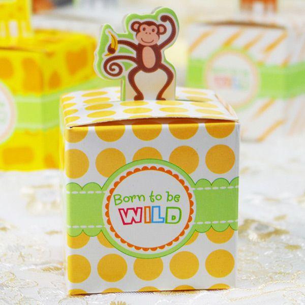 Giraffe Candy Box Carino Scatole regalo animale Scatole regalo Baby Shower Birthday Bomboniere / Scimmia / Tigre / Elefante