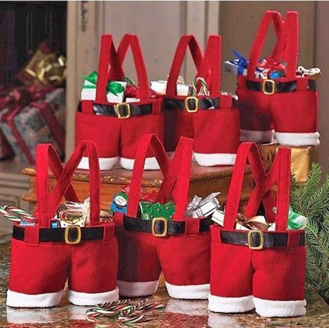 Santa Pants Style Candy Bags Christmas Gift Bag Xmas Bag For ...