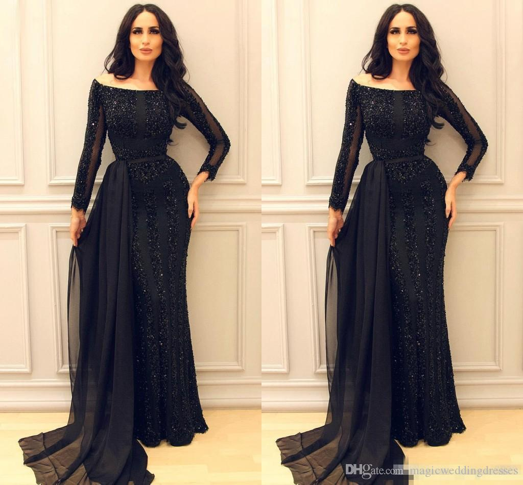 Sparkly Black Long Sleeve Prom Pageant Dresses 2017 Modest Middle East Arabic Arab Mermaid Sexy Evening Formal Gowns with Ribbon