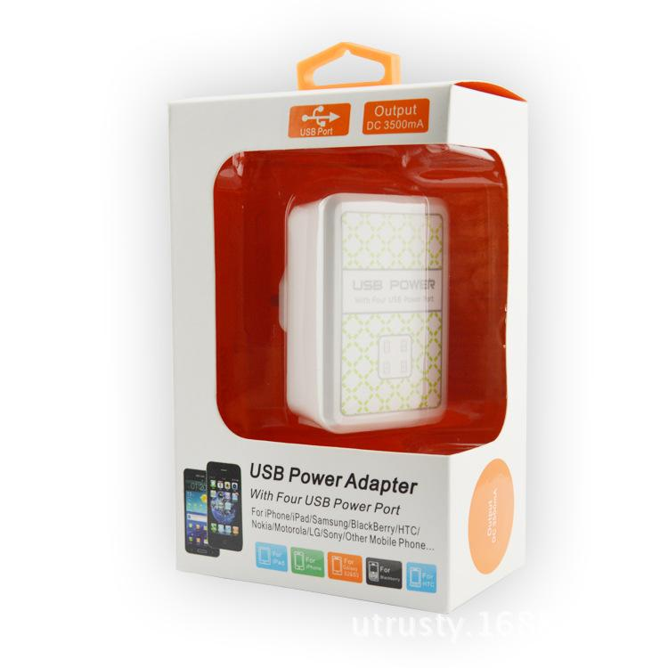 USB 4 Port Wall Power Charger AC Adapter UK EU US Plug For Samsung for Phone ipad iphone white