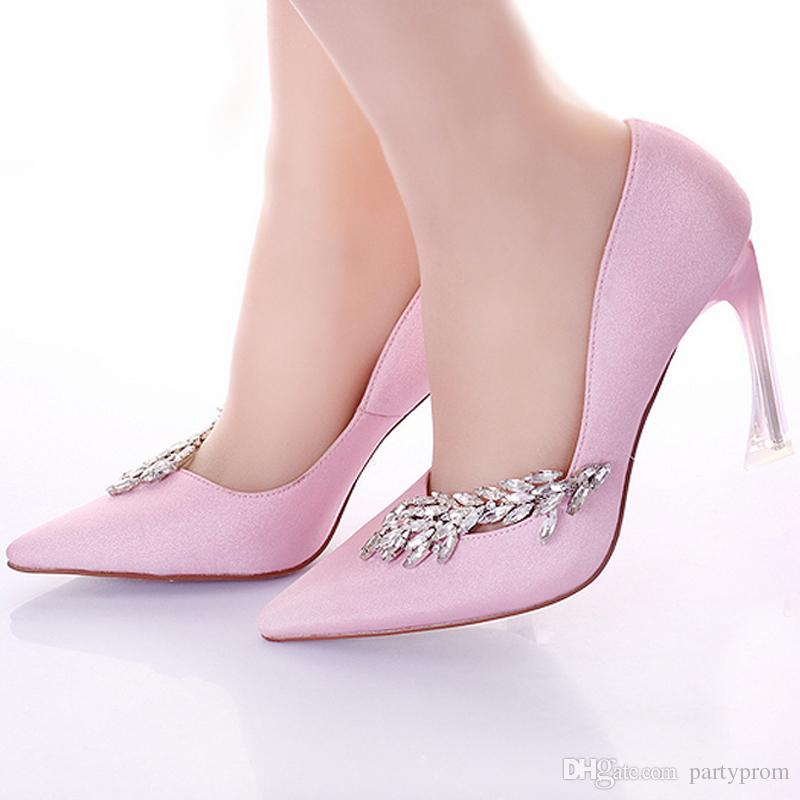 6e3aa809167c Fashion Women Pumps Strange Heel Bridal Wedding Party Shoes Pointed Toe  Pink Banquet Dress Shoes Satin Prom High Heel Shoes Wedding Shoes Wide Fit  Wedding ...