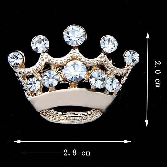 Heißer Verkauf Silber Ton Klarem Kristall Kleine Krone Brosche B015 Sehr Nette Legierung Frauen Kragen Pins Hochzeit Brautschmuck Zubehör Geschenk